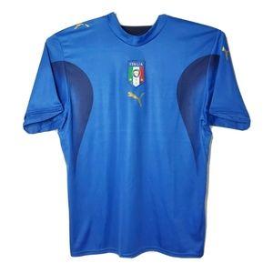 Puma FIGC Mens L Blue Italia Soccer Jersey Shirt